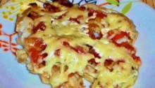 треска с помидорами и сыром