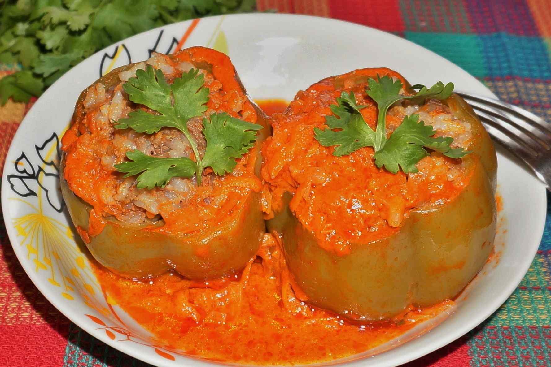 Рецепт фаршированный перец с рисом и овощами рецепт с пошагово в