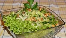 Салат из капусты, огурцов и болгарского перца Зеленый