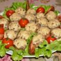 Шампиньоны фаршированные курицей и сыром в духовке