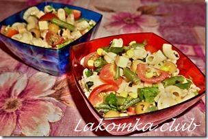 салат из макарон, стручковой фасоли и оливок