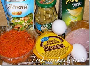 Салат из корейской моркови и грибов с чипсами 2