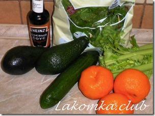 Салат из авокадо с огурцом и мандаринами (3)