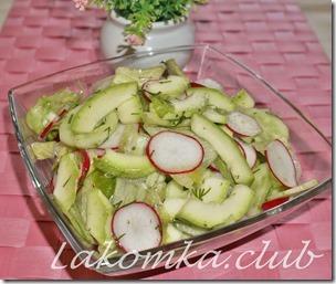 Салат из кабачков с огурцом и редисом