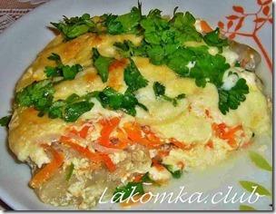 Треска запеченная с сыром и морковью