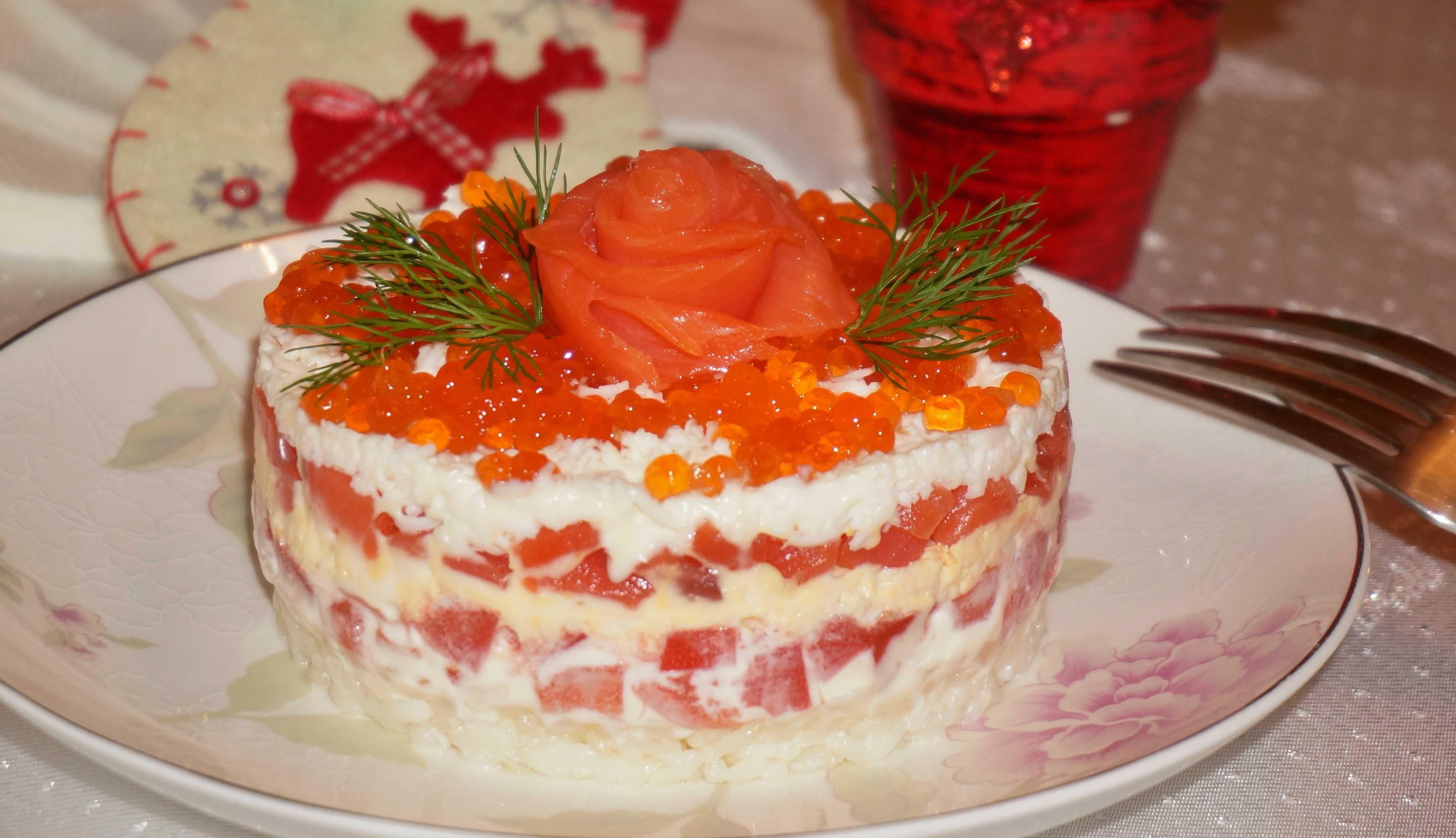 Салат из икры и семги фото рецепт пошаговый