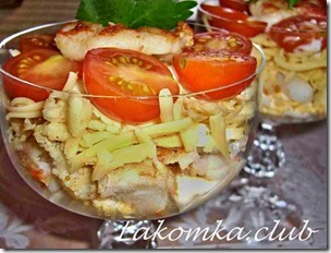 салат из креветок с сыром и помидорами
