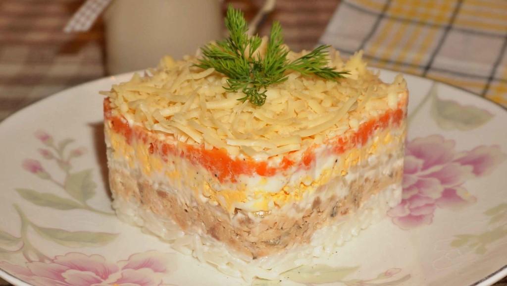 Мимоза с рисом и горбушей