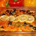 рыба с болгарским перцем и помидорами