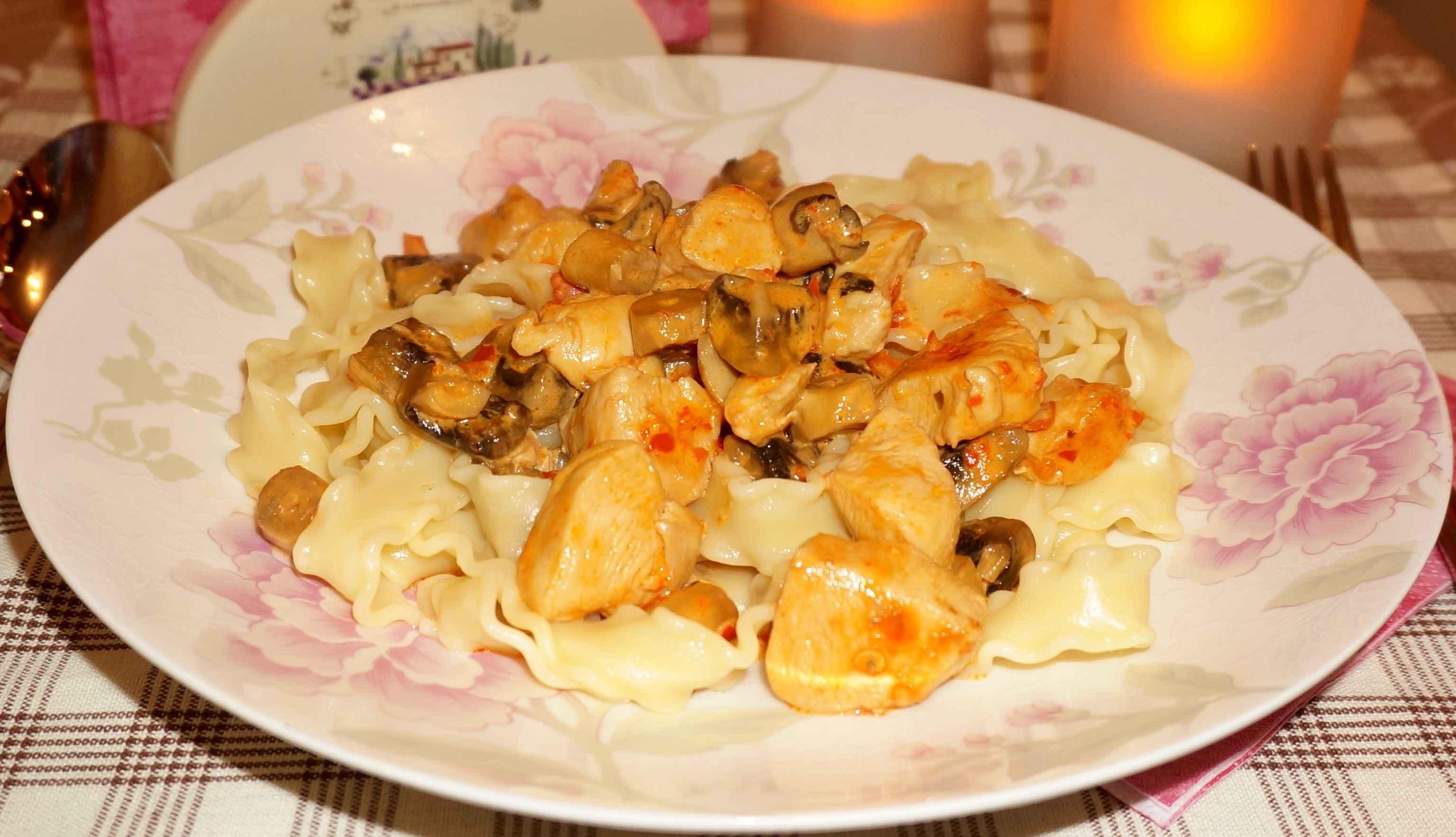 Паста с грибами и курицей рецепт с пошаговыми фото
