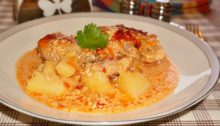 картофель с курицей в сливках тушеный в духовке