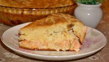 Заливной пирог с семгой и сыром