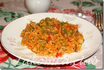 Рис с грибами и овощами
