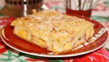 Заливной пирог со свининой и сыром