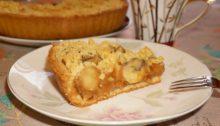 Песочный пирог с вареной сгущенкой и бананами