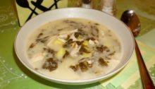 Суп из щавеля с курицей и плавленым сыром