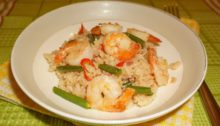 Рис с креветками в карибском стиле