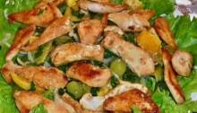 Салат из курицы с виноградом и апельсином