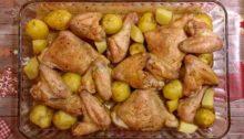 Картофель запеченный с куриными крылышками, бедрами и окорочками
