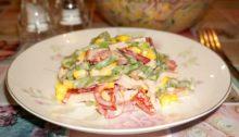 Салат с ветчиной и стручковой фасолью Колизей